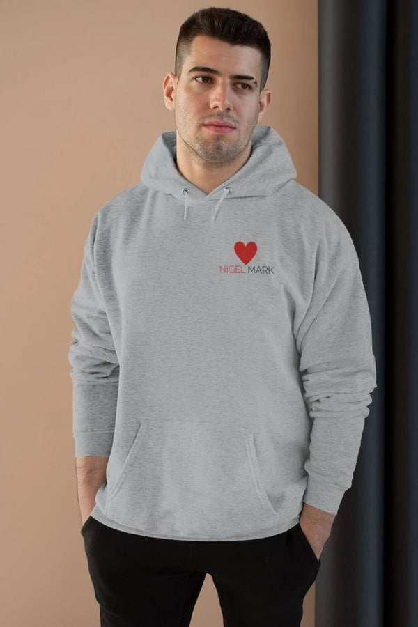 men's red heart logo branded hoodie sweatshirt