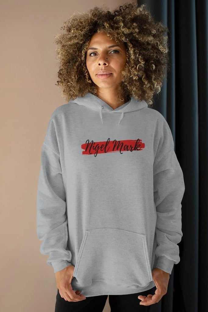 women's black and red logo branded hoodie sweatshirt