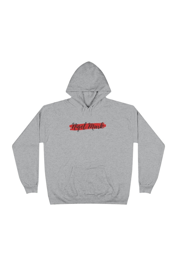 black and red logo branded hoodie sweatshirt