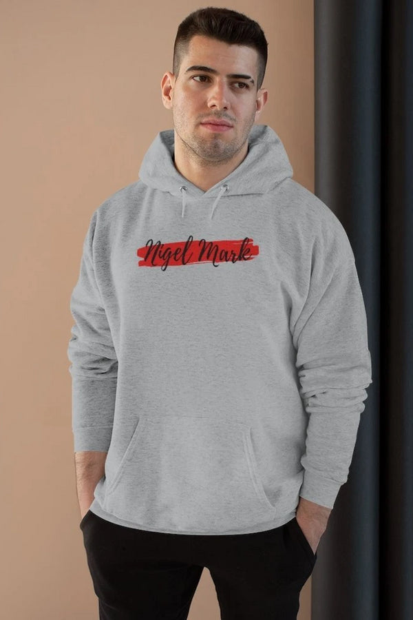 men's black and red logo branded hoodie sweatshirt