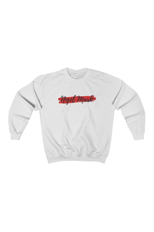 white and red logo branded sweatshirt