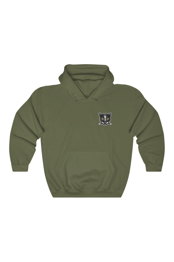 military green black panther logo branded hoodie