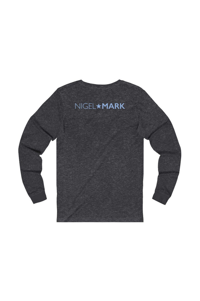 unisex dark grey and blue long sleeve tee