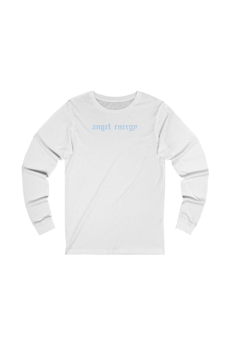 unisex white and blue long sleeve tee