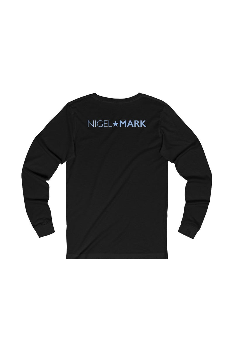 black and grey long sleeve tee