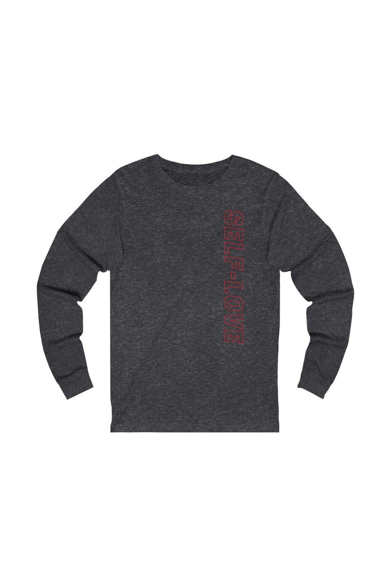 unisex red and dark grey long sleeve tee