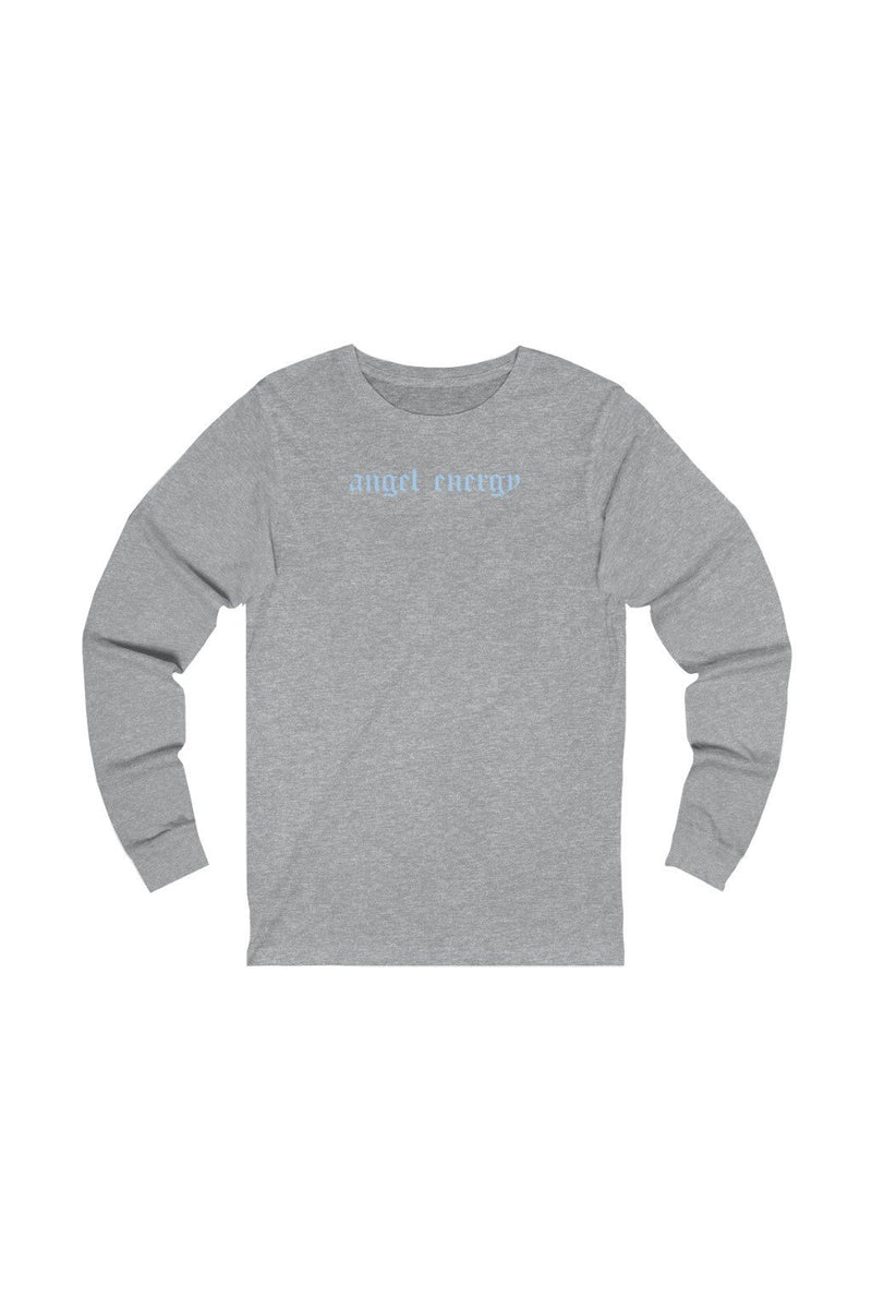 unisex grey and white long sleeve tee