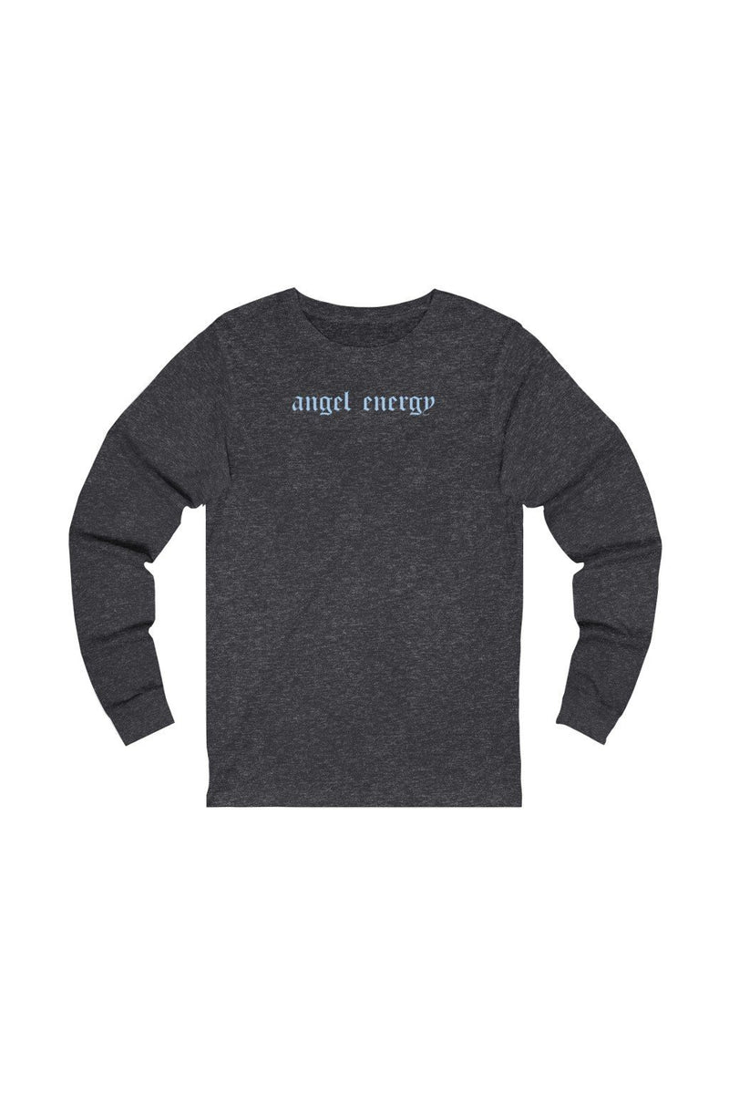 dark grey and blue long sleeve tee