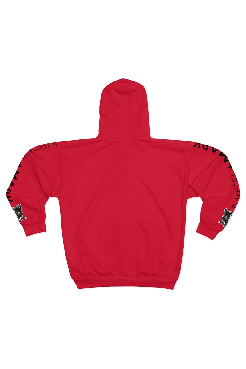 Unisex Red Side Panther Zip Hoodie - NM BRANDED - NIGEL MARK
