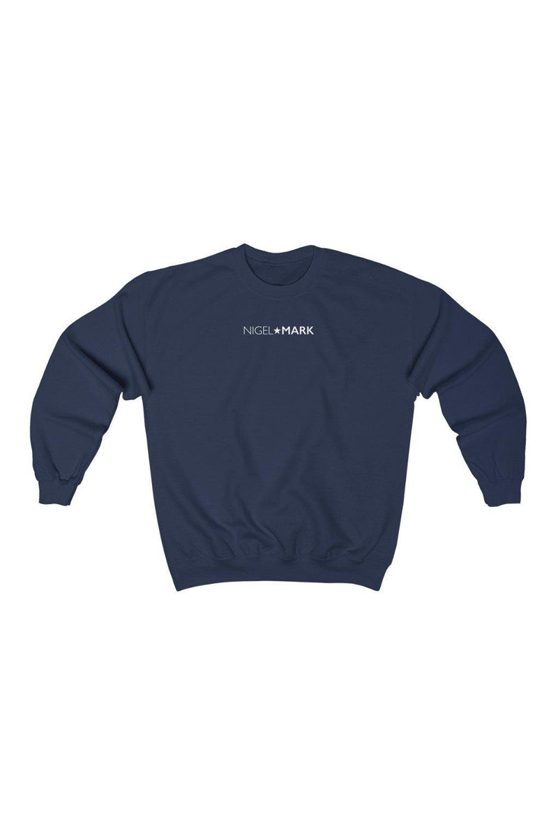 navy blue and white crewneck sweatshirt