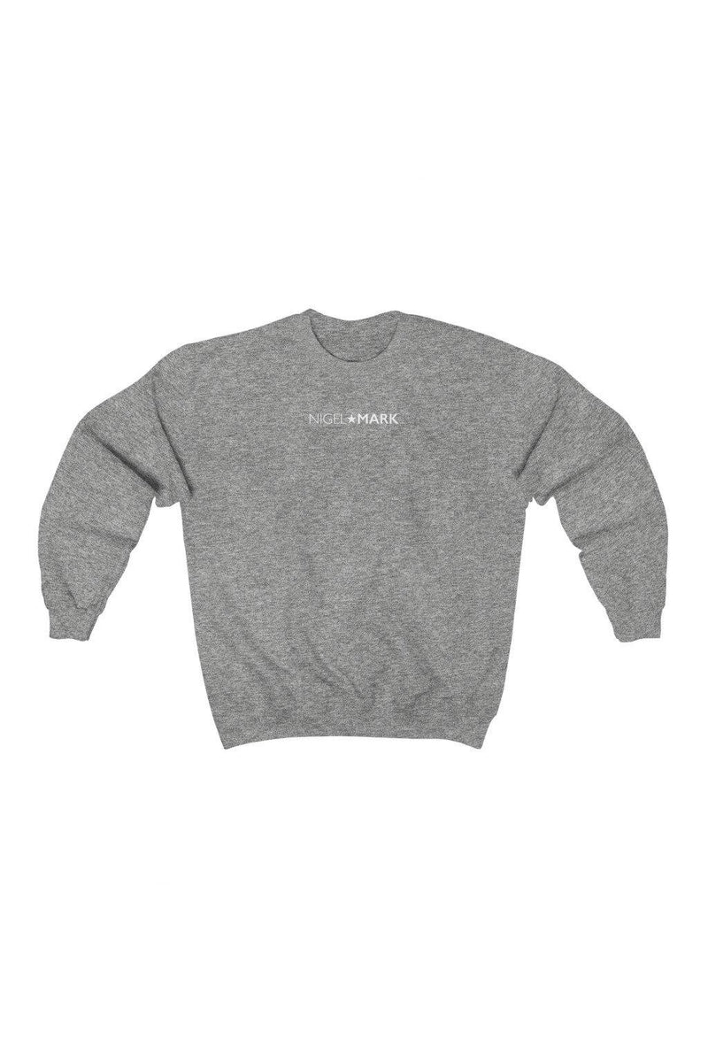 grey and white crewneck sweatshirt