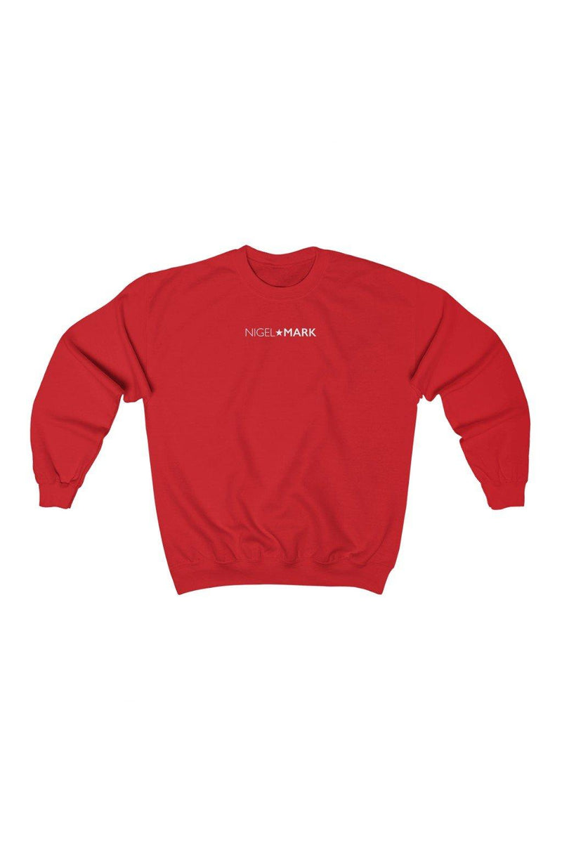 red and white crewneck sweatshirt
