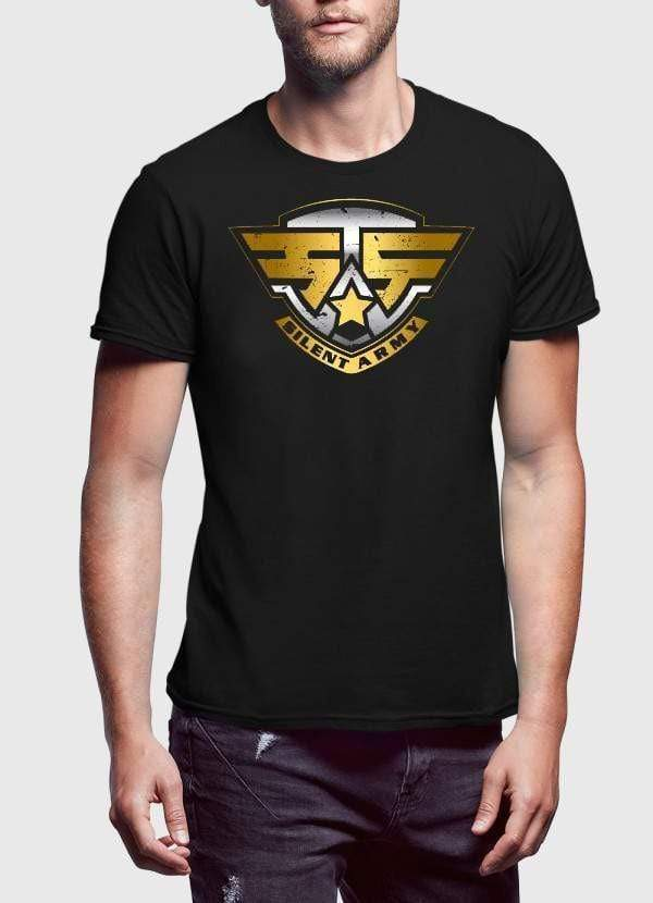 US SILENT ARMY BLACK PRINTED TSHIRT - MEN TOPS - NIGEL MARK