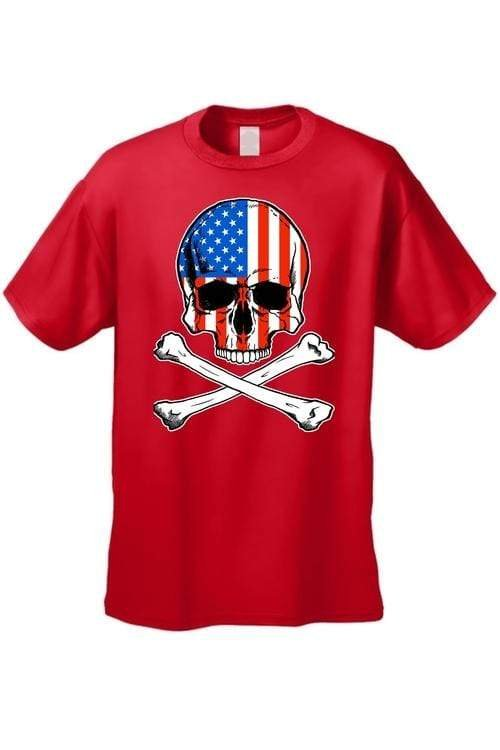 USA Flag T Shirt Skull with Crossed Bones Men's - MEN TOPS - NIGEL MARK