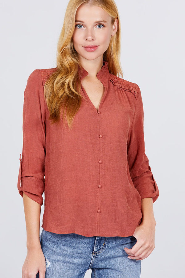 V-neck Button Down Woven Top - NIGEL MARK