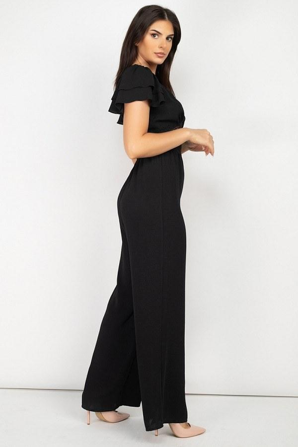 V-neck Lace Jumpsuit - Black - JUMPSUITS & ROMPERS - NIGEL MARK
