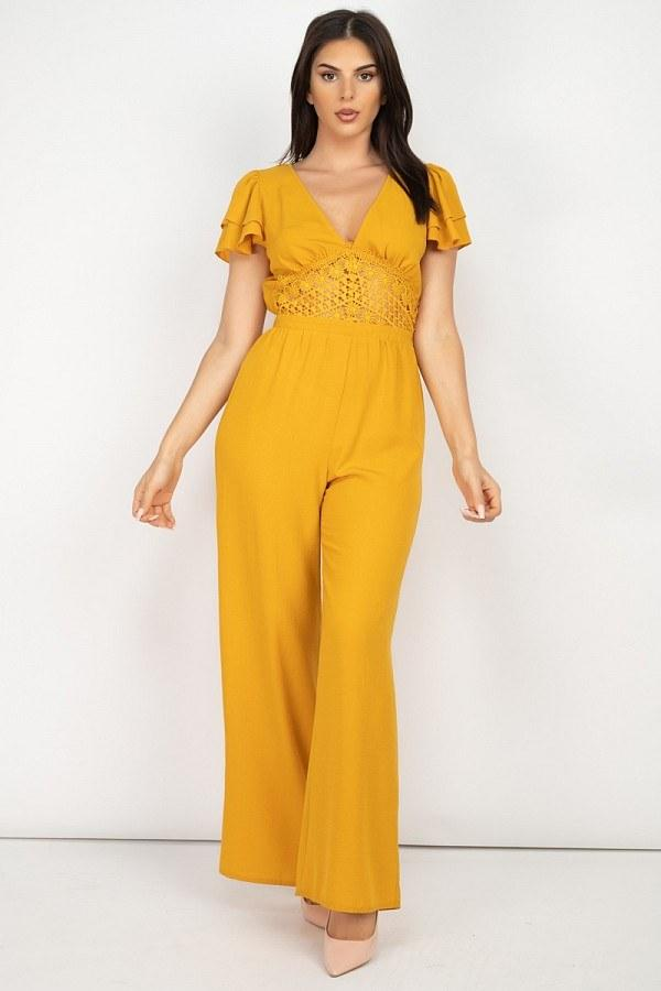 V-neck Lace Jumpsuit - Mustard - JUMPSUITS & ROMPERS - NIGEL MARK