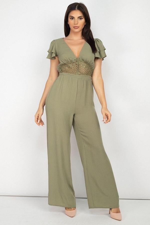 V-neck Lace Jumpsuit - Olive - JUMPSUITS & ROMPERS - NIGEL MARK