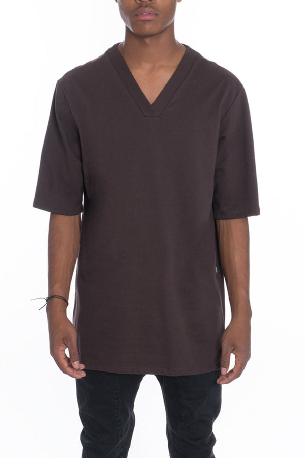 V Neck Tee - Brown - T-shirts - NIGEL MARK