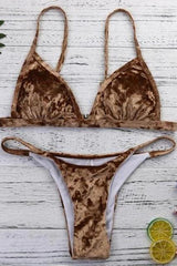 Velvet Triangle Bikini Set - SWIMWEAR - NIGEL MARK