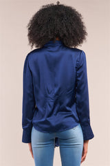 Victorian Indigo Blue Satin Long Sleeve Self-tie Collar Button Down Gathered Blouse - NIGEL MARK