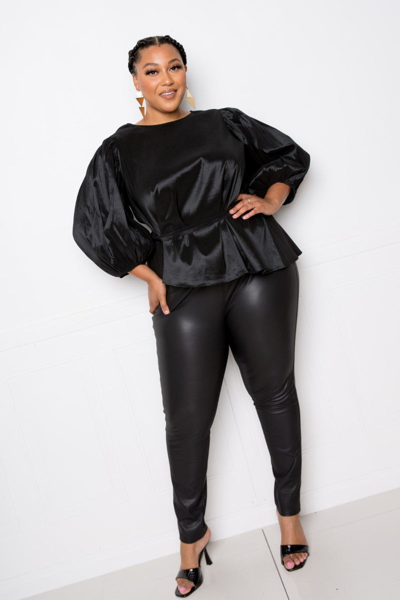 Voluminous Top With Waist Tie - Black - PLUS TOPS - NIGEL MARK