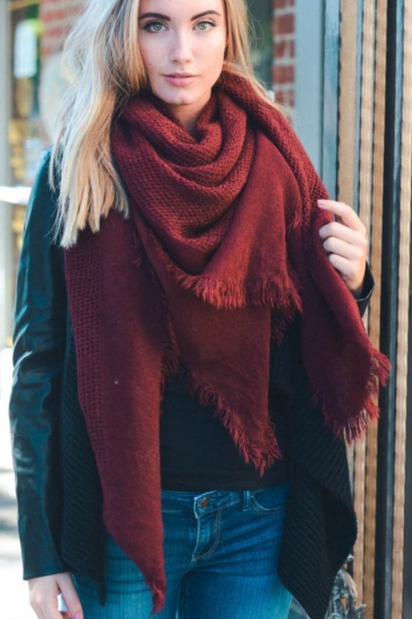Warm Burgundy Scarf - WOMEN SHOES & ACCESSORIES - NIGEL MARK