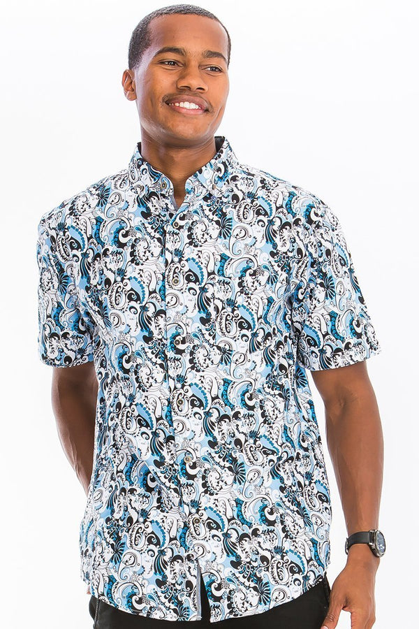 Wavy Button Down Shirt - MEN TOPS - NIGEL MARK