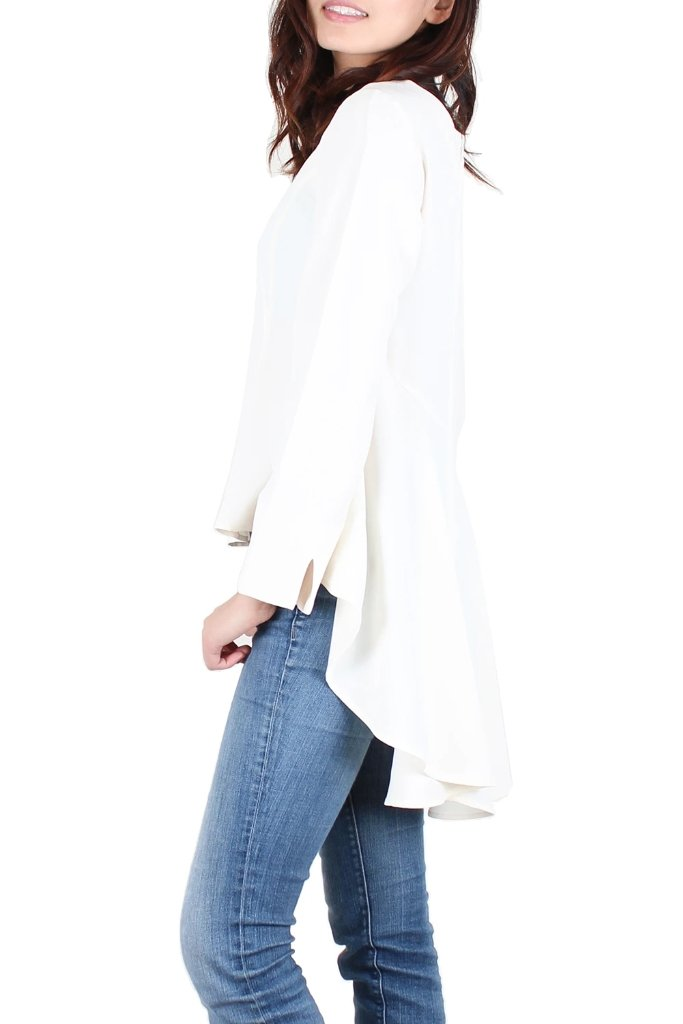 White Blouse Hi-Lo Hem Top - Women's Clothing - NIGEL MARK
