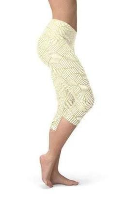 White Capri Cubes Leggings - BOTTOMS - NIGEL MARK