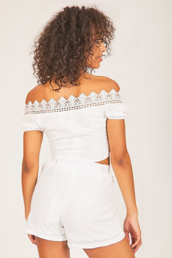 White Crochet Bardot Top - WOMEN TOPS - NIGEL MARK