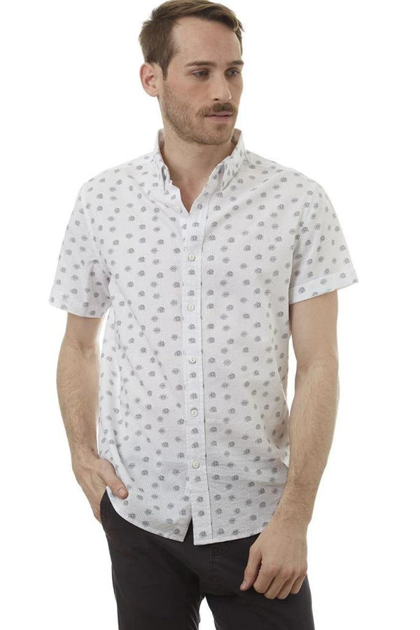 White Dotted Button Down Shirt - Men's Clothing - NIGEL MARK