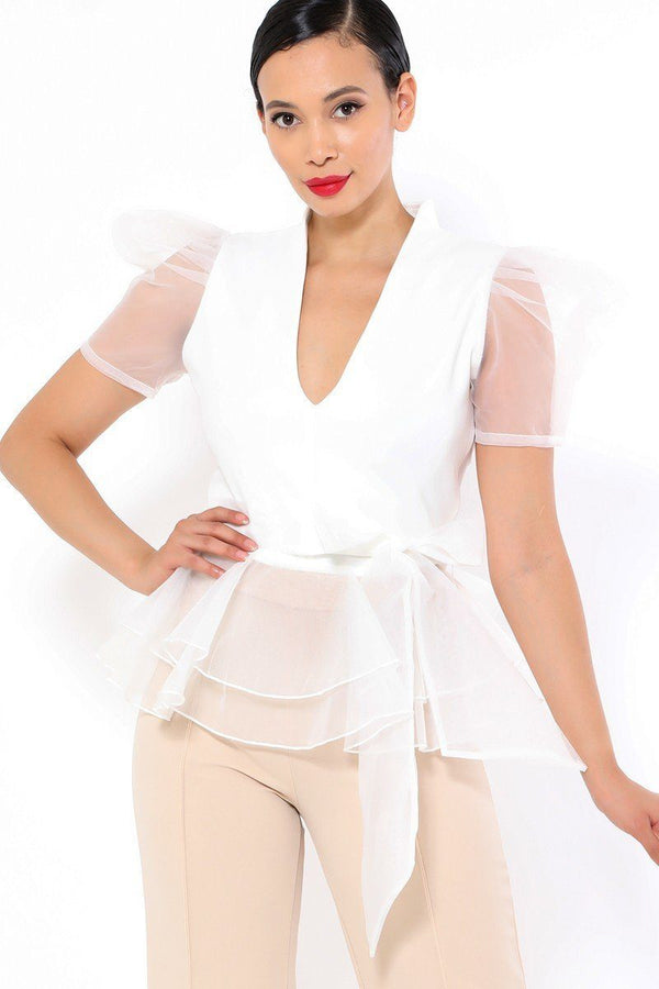 White Organza Puff Short Sleeve Fashion Top - WOMEN TOPS - NIGEL MARK