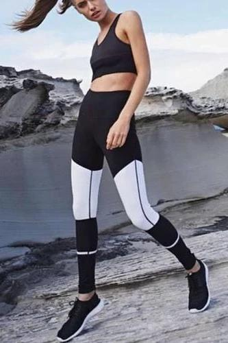 White Patchwork Sport Leggings - WOMEN BOTTOMS - NIGEL MARK