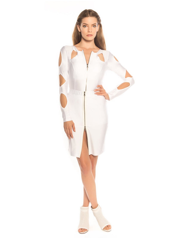 White Peek A Boo Bodycon Skirt - Swimwear - NIGEL MARK