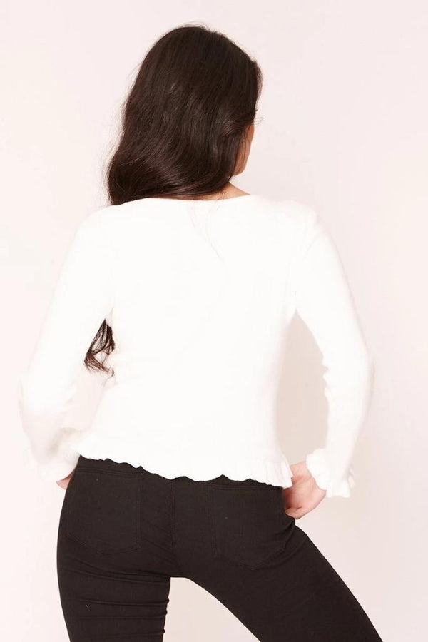White Ribbed Frill Hem Top - WOMEN TOPS - NIGEL MARK