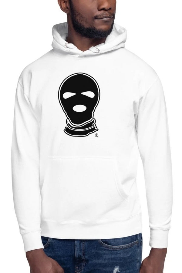 White Ski Mask Design Hoodie - Men's Clothing - NIGEL MARK