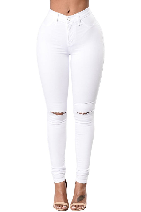 White Slit Knee Denim Pants - Women's Clothing - NIGEL MARK