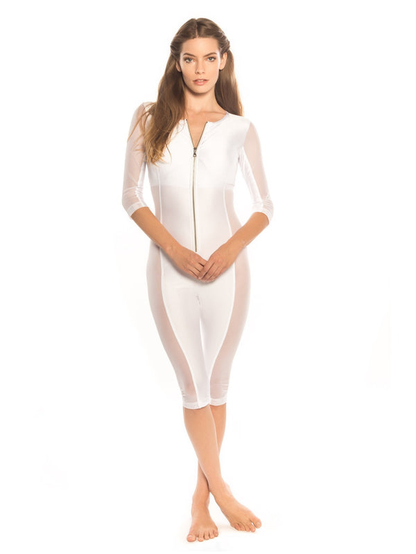 White Snorkel Couture Body Suit - Swimwear - NIGEL MARK