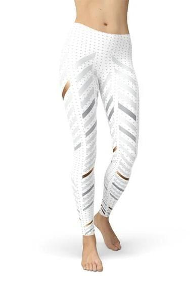White Stripes Leggings - BOTTOMS - NIGEL MARK
