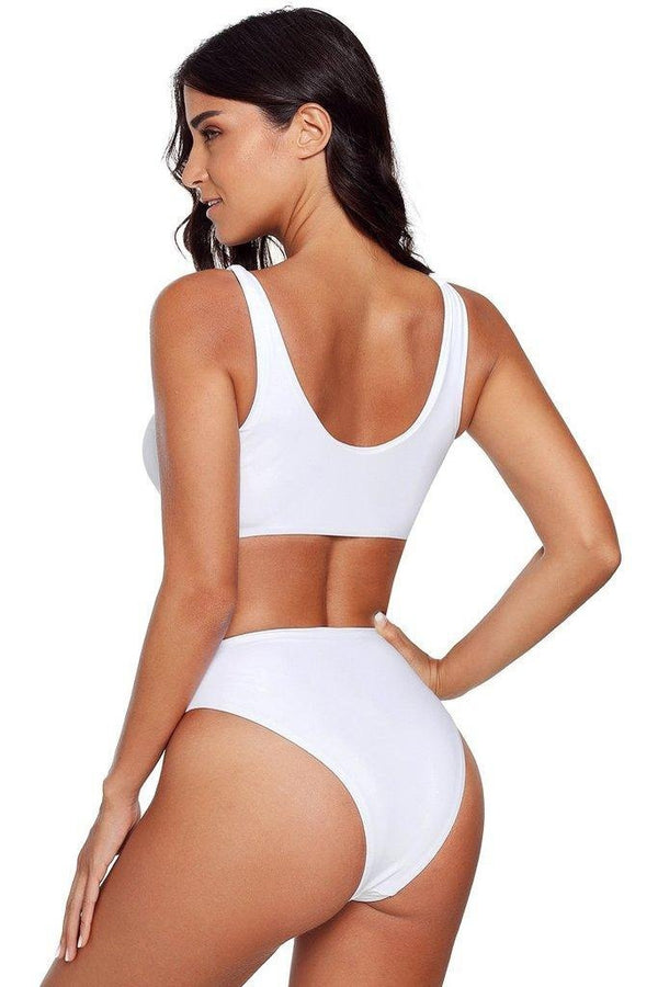 White Zip Front Sporty Swimsuit - SWIMWEAR - NIGEL MARK