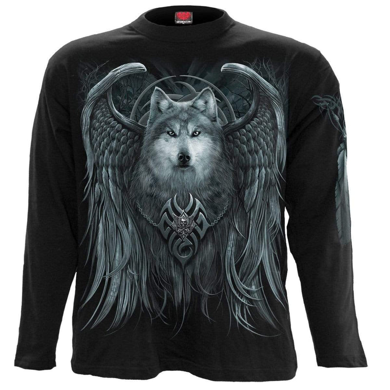 WOLF SPIRIT - Longsleeve T-Shirt Black - MEN TOPS - NIGEL MARK