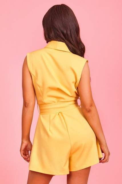 Yellow Belted Playsuit - JUMPSUITS & ROMPERS - NIGEL MARK