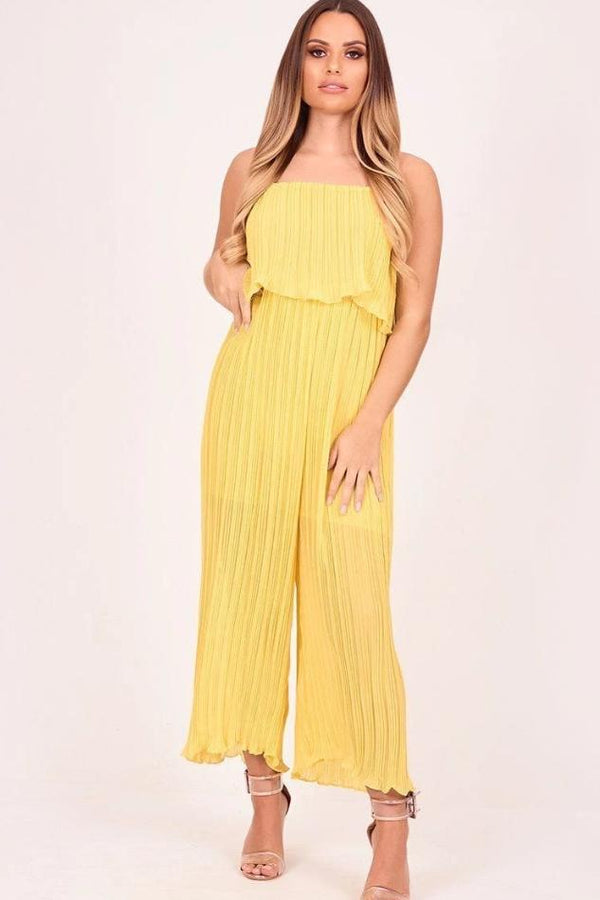 Yellow Pleated Jumpsuit - JUMPSUITS & ROMPERS - NIGEL MARK