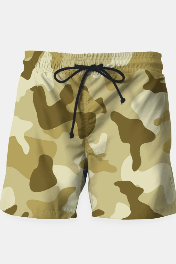 Yellow Sand Camouflage Army Pattern Swim Shorts - MEN SHORTS - NIGEL MARK