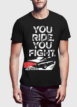 YOU RIDE YOU FIGHT Half Sleeves Black & Charcoal - MEN TOPS - NIGEL MARK
