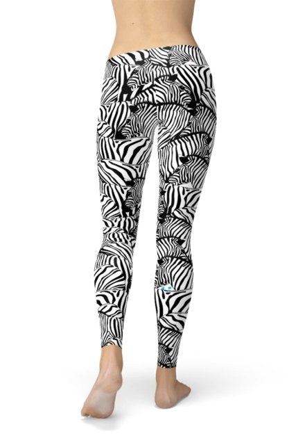 Zebra Stripes Print Leggings - WOMEN BOTTOMS - NIGEL MARK