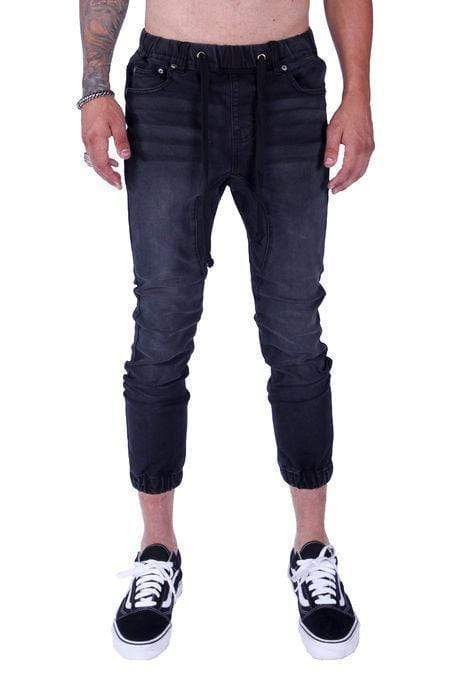 Zeel Denim Joggers (Black) - MEN BOTTOMS - NIGEL MARK