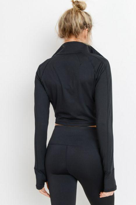 Zip-Up Crop Active Jacket with Thumbholes - Activewear - NIGEL MARK