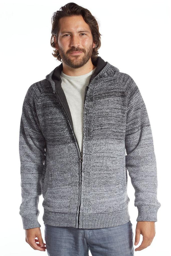 Zip Up Ombre Sweater - Men's Clothing - NIGEL MARK